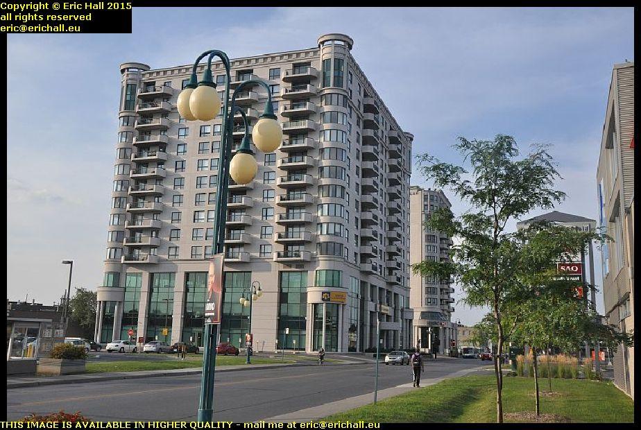New bank buildings rue jean talon montreal quebec canada