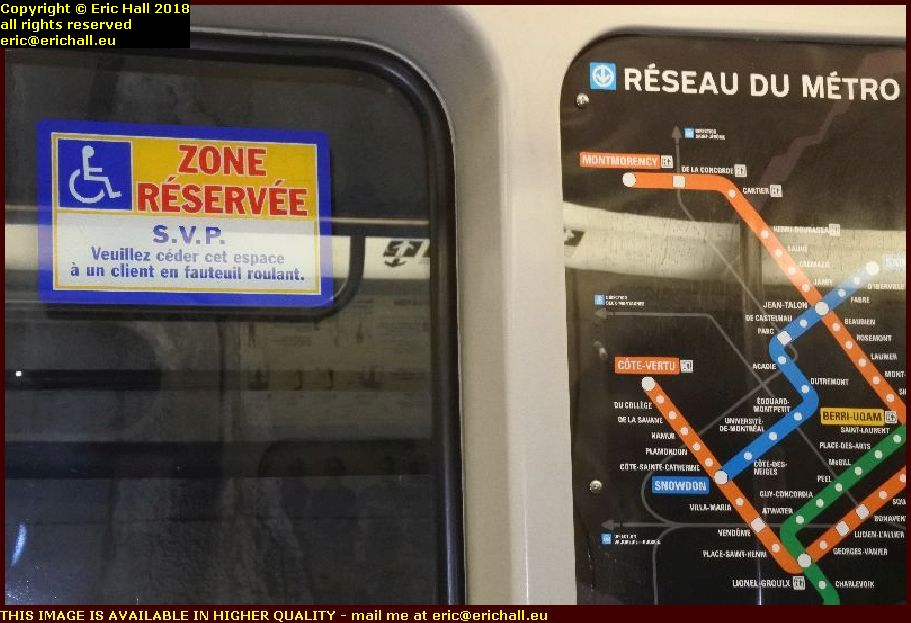 wheelchair only sign metro montreal canada august aout 2018