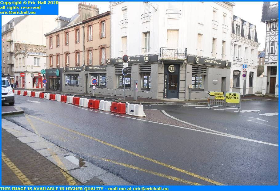 road closed rue roger maris granville manche normandy france eric hall