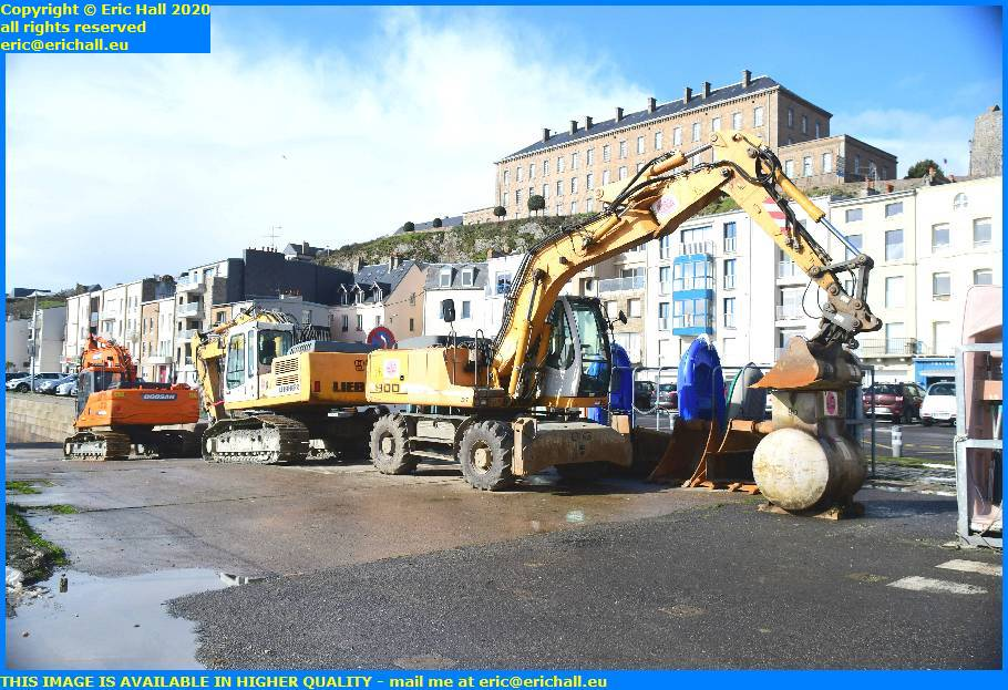 heavy machinery dredging rue du port de granville harbour manche normandy france eric hall