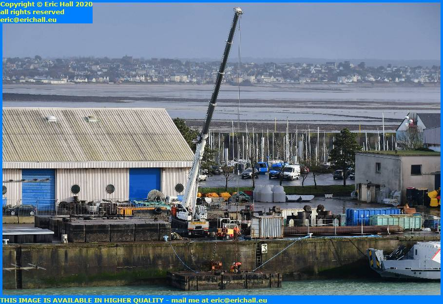 heavy crane pontoon port de granville harbour manche normandy france eric hall