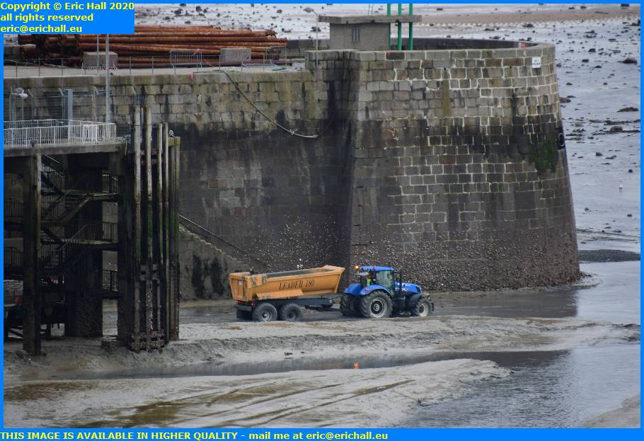 tractor trailer loading rock ferry port de granville harbour manche normandy france eric hall