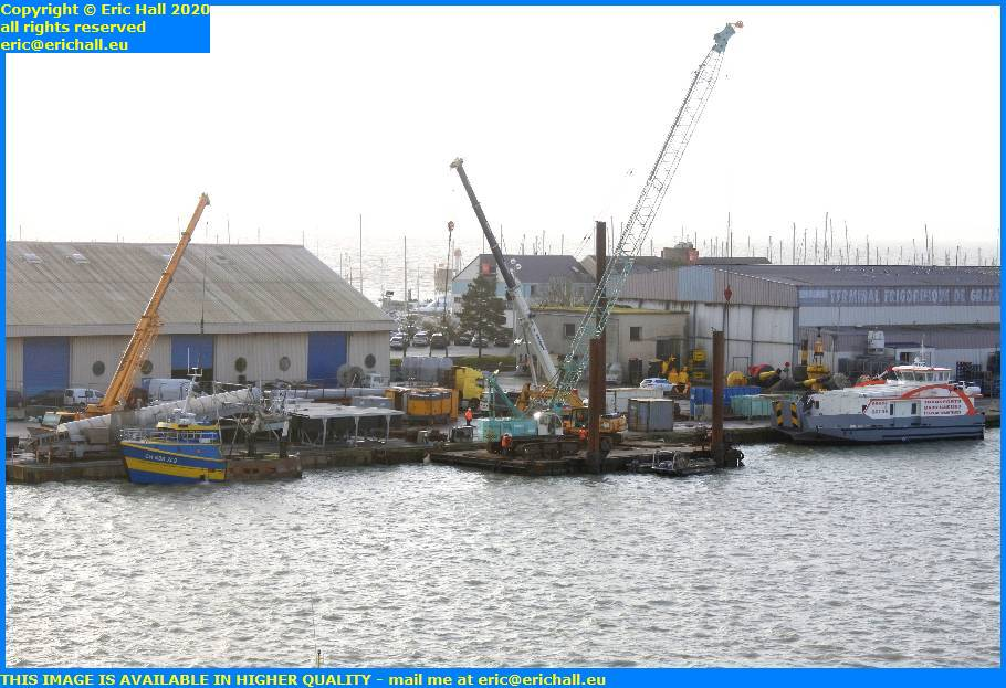 crane pontoon port de granville harbour manche normandy france eric hall