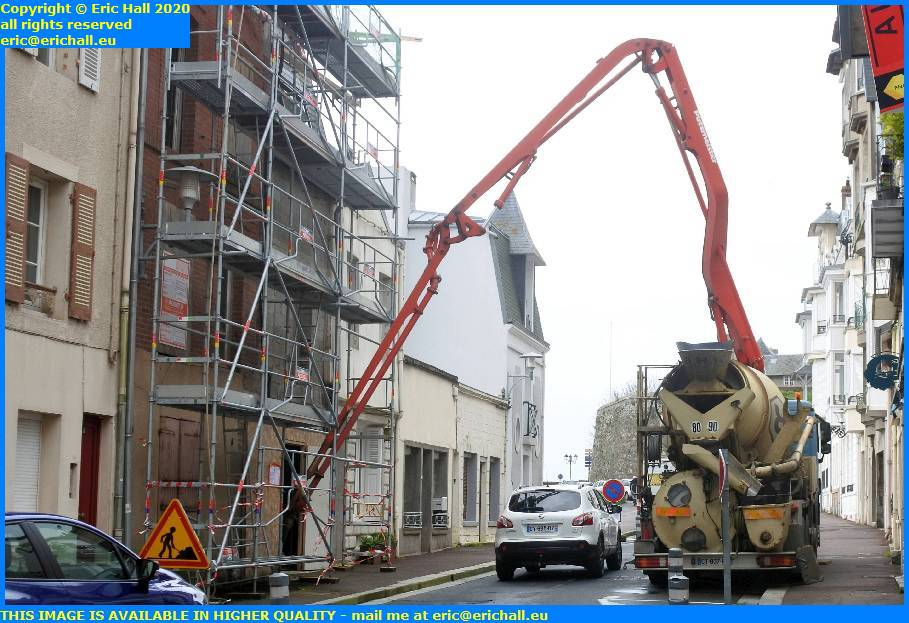 pumping concrete rue des juifs granville manche normandy france eric hall