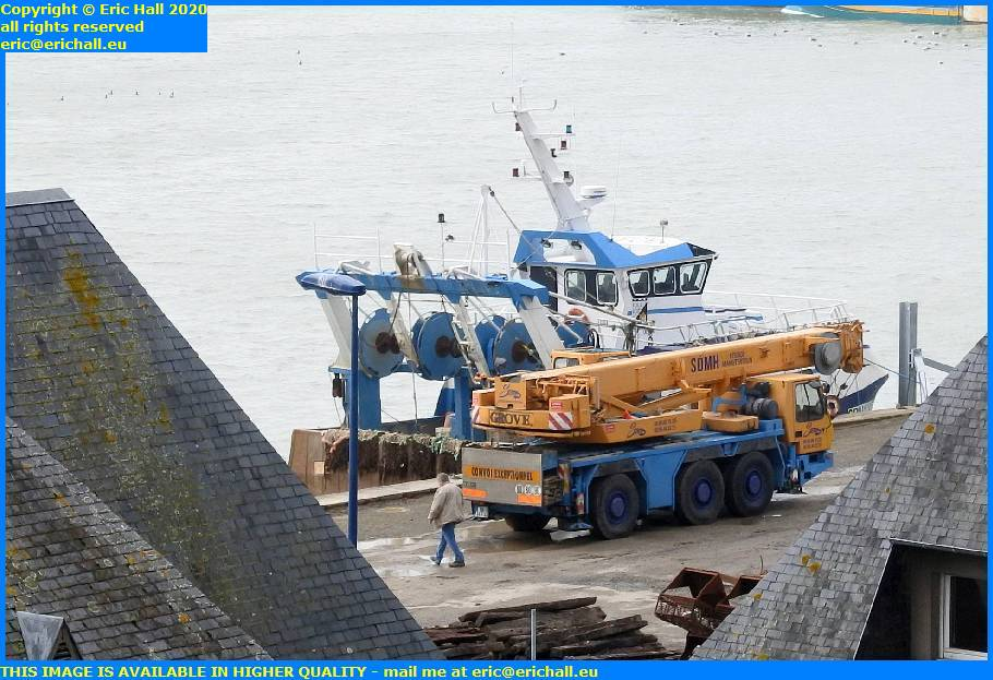 mobile crane rue du port de granville harbour manche normandy france eric hall