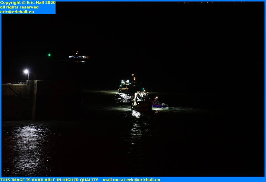 night trawlers entering port de  granville harbour manche normandy france eric hall
