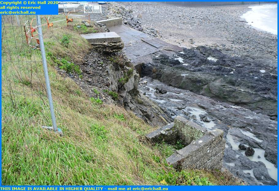 eroding cliffs concrete supports pointe du roc granville manche normandy france eric hall