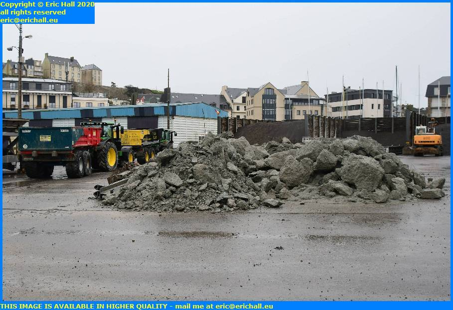 tractor trailer stone rubble port de granville harbour manche normandy france eric hall