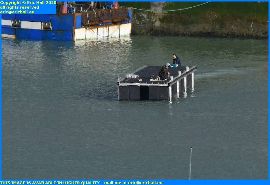 floating pontoon across rue du port de granville harbour manche normandy france eric hall