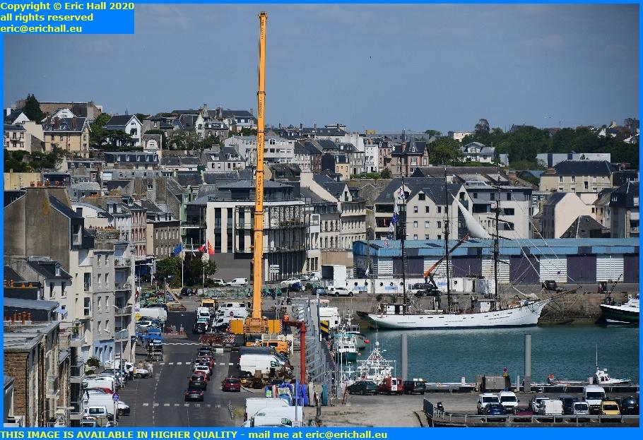 giant crane rue du port de granville harbour manche normandy france eric hall