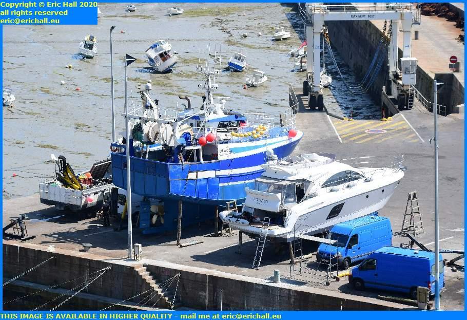 fishing boats pleasure boats chantier navale port de granville harbour manche normandy france eric hall