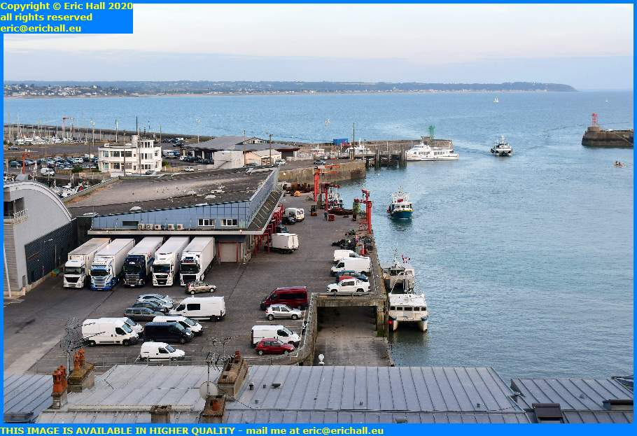 trawlers fishing boats fish processing plant refrigerated lorry port de granville harbour manche normandy france eric hall