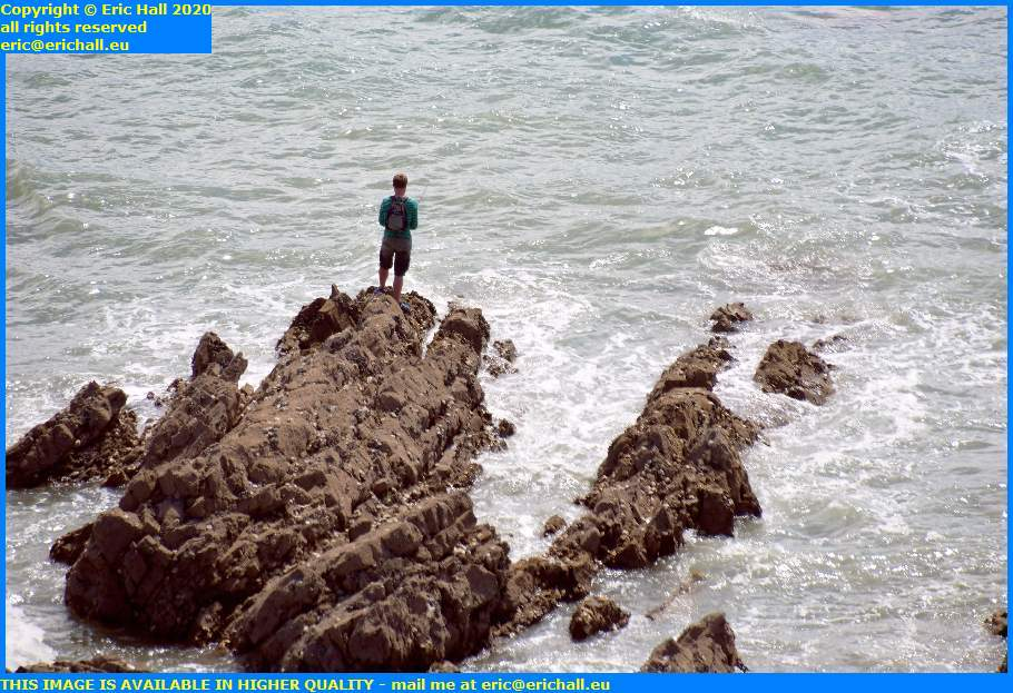 fishing from rocks pointe du roc granville manche normandy france eric hall