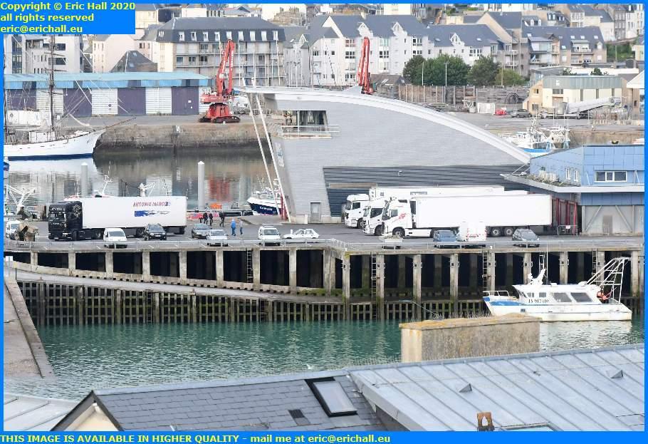refrigerated lorries fish processing plant rue du port de granville harbour manche normandy france eric hall