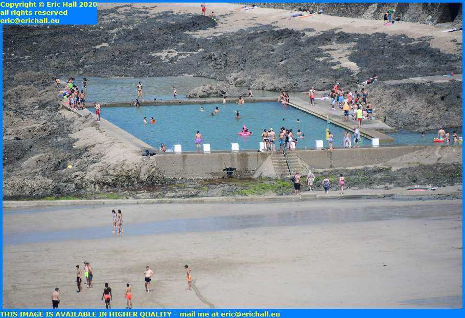 crowds tidal swimming pool plat gousset granville manche normandy france eric hall
