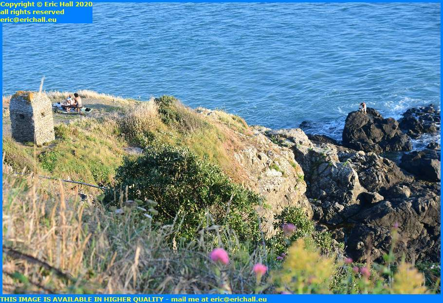 fisherman picnickers pointe du roc granville manche normandy france eric hall