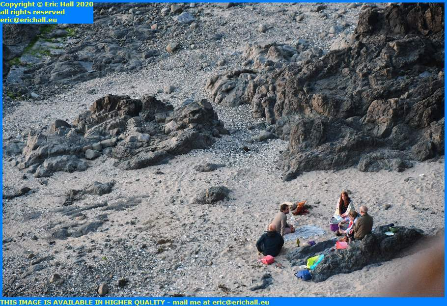 crowds picnicking on beach plat gousset granville manche normandy france eric hall