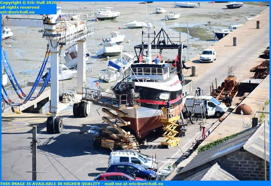 working on trawler chantier navale port de granville harbour manche normandy france eric hall
