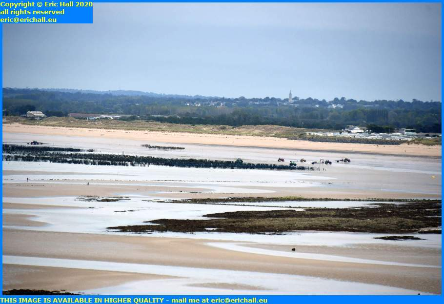 tractors trailers mussels nets bouchots donville les bains granville manche normandy france eric hall