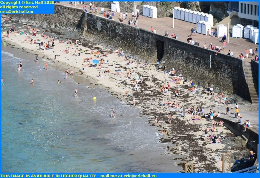 crowds on beach plat gousset granville manche normandy france eric hall