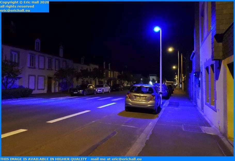 blue light pedestrian crossing ave matignon granville manche normandy france eric hall