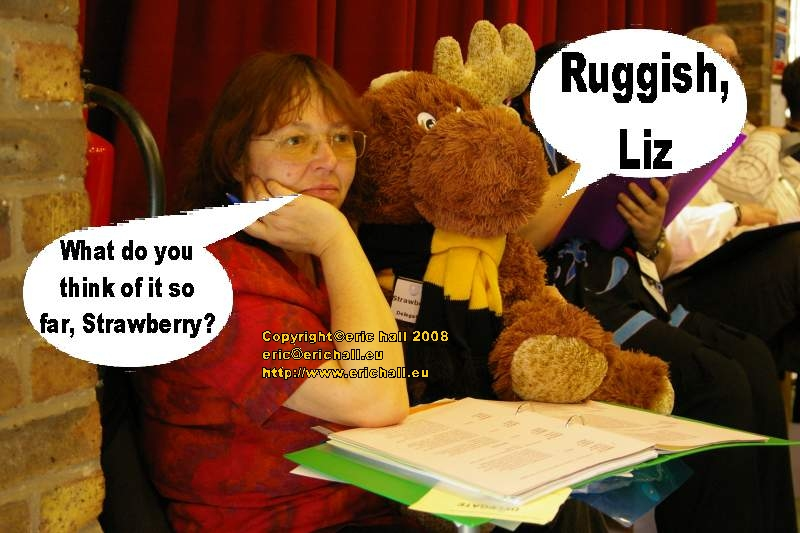 Liz and Strawberry Moose look on