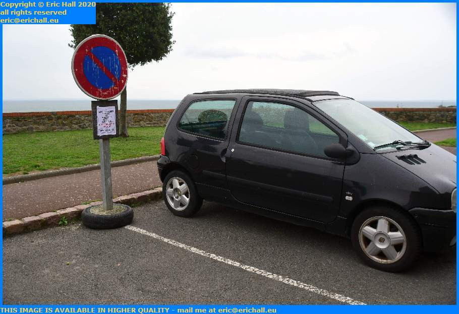 Parking at No Waiting Sign Boulevard Vaufleury Granville Manche Normandy France Eric Hall