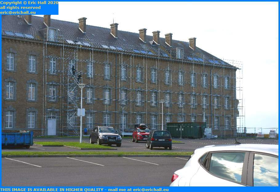 Erecting Scaffolding College Malraux Place d'Armes Granville Manche Normandy France Eric Hall