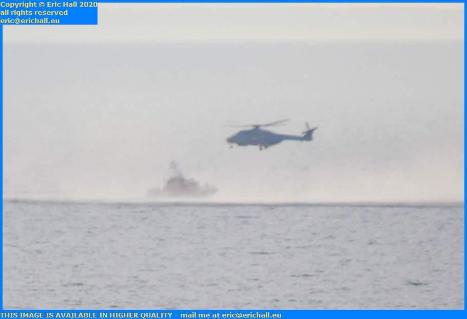 helicopter air sea rescue notre dame de cap lihou baie de mont st michel Granville Manche Normandy France Eric Hall