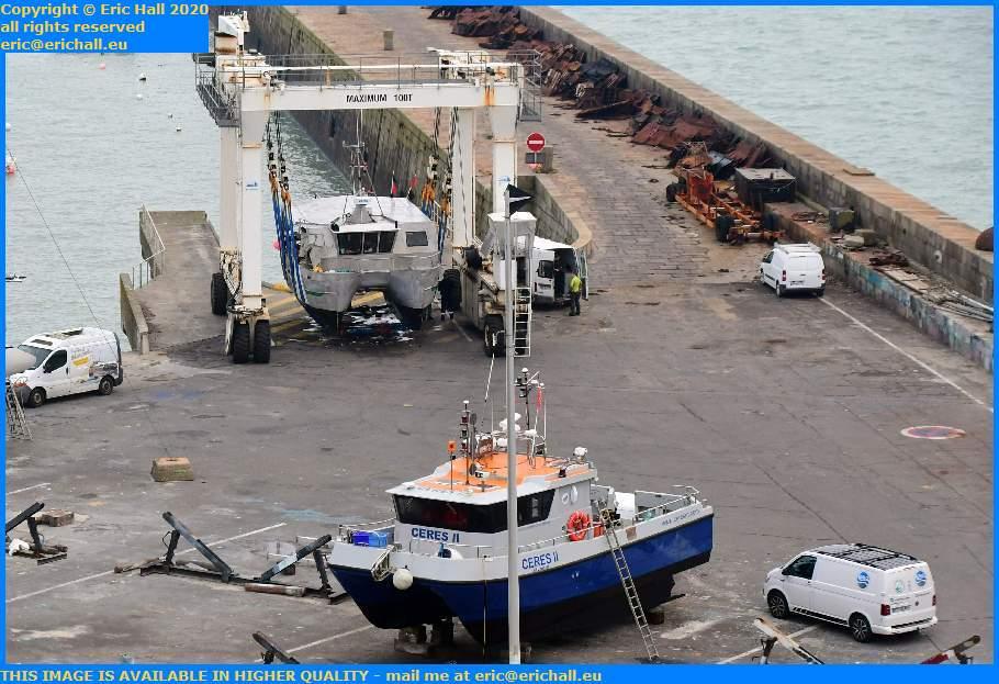 ceres 2 new boat arriving in chantier navale port de Granville harbour Manche Normandy France Eric Hall