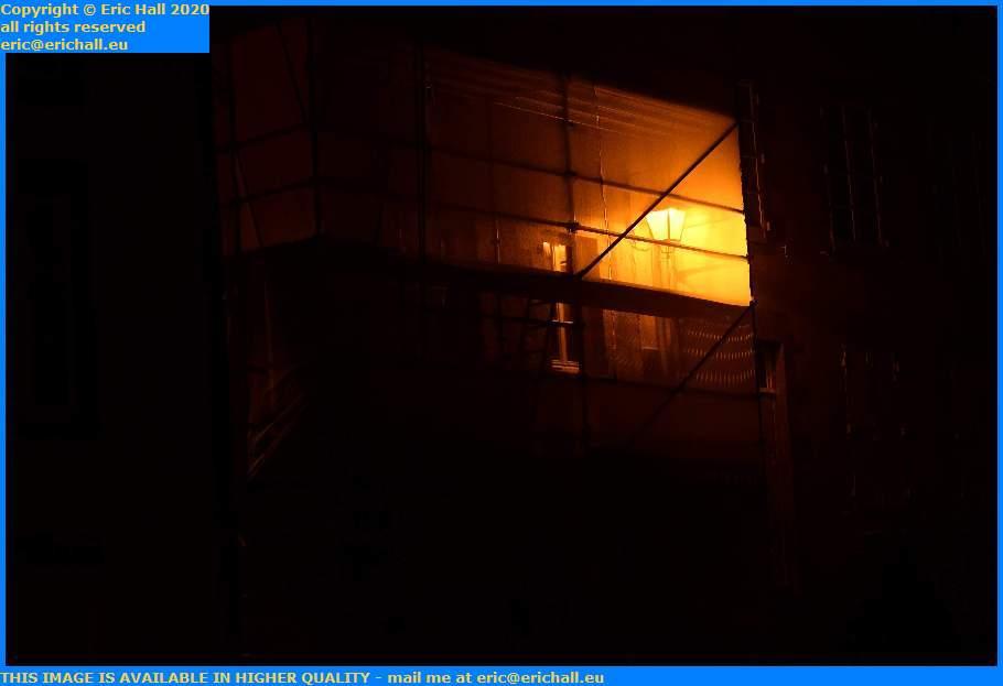street light scaffolding netting rue lecarpentier Granville Manche Normandy France Eric Hall