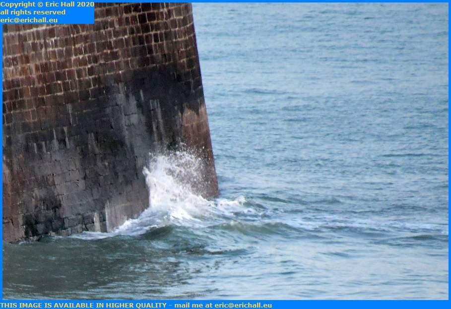 waves on harbour wall Granville Manche Normandy France Eric Hall