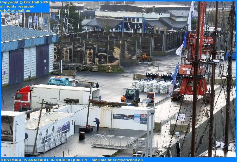 unloading goods at quayside port de Granville harbour Manche Normandy France Eric Hall
