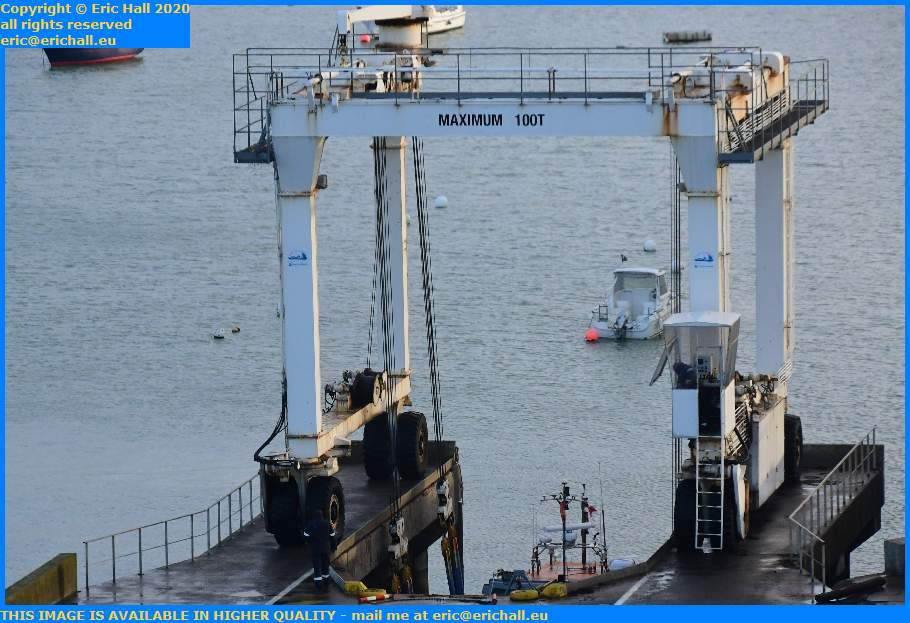 ceres 2 going back into the water chantier navale port de Granville harbour Manche Normandy France Eric Hall