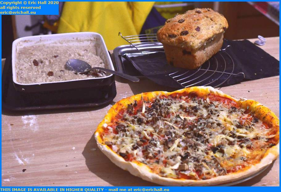 vegan pizza fruit bread rice pudding Granville Manche Normandy France Eric Hall