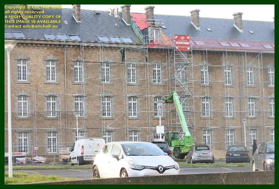 repositioning scaffolding college malraux place d'armes Granville Manche Normandy France Eric Hall
