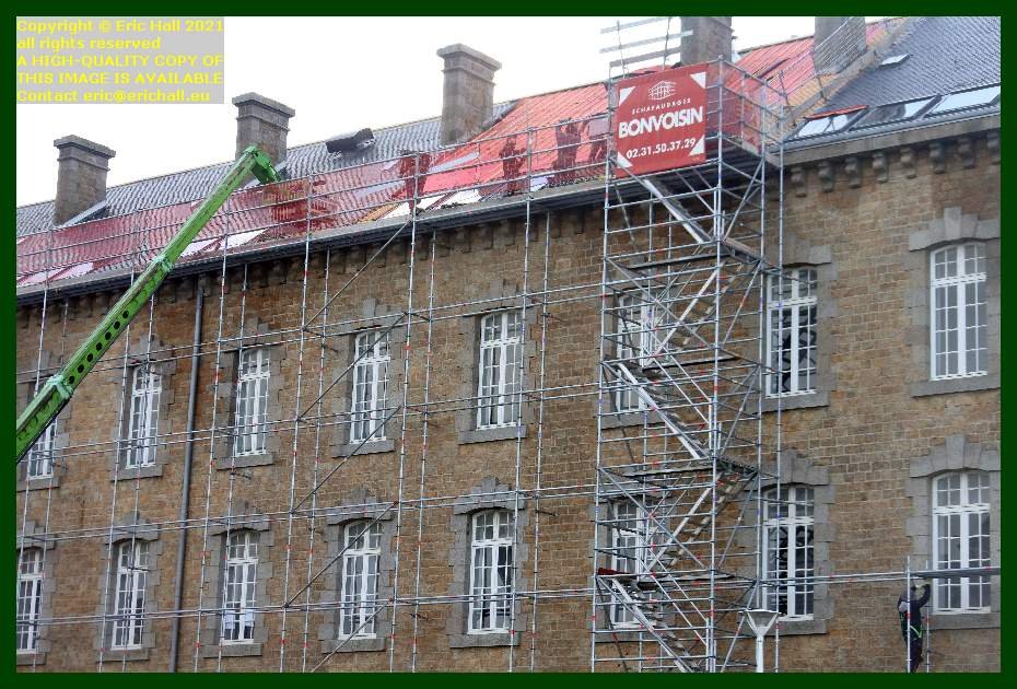 moving scaffolding roofing college malraux Granville Manche Normandy France Eric Hall