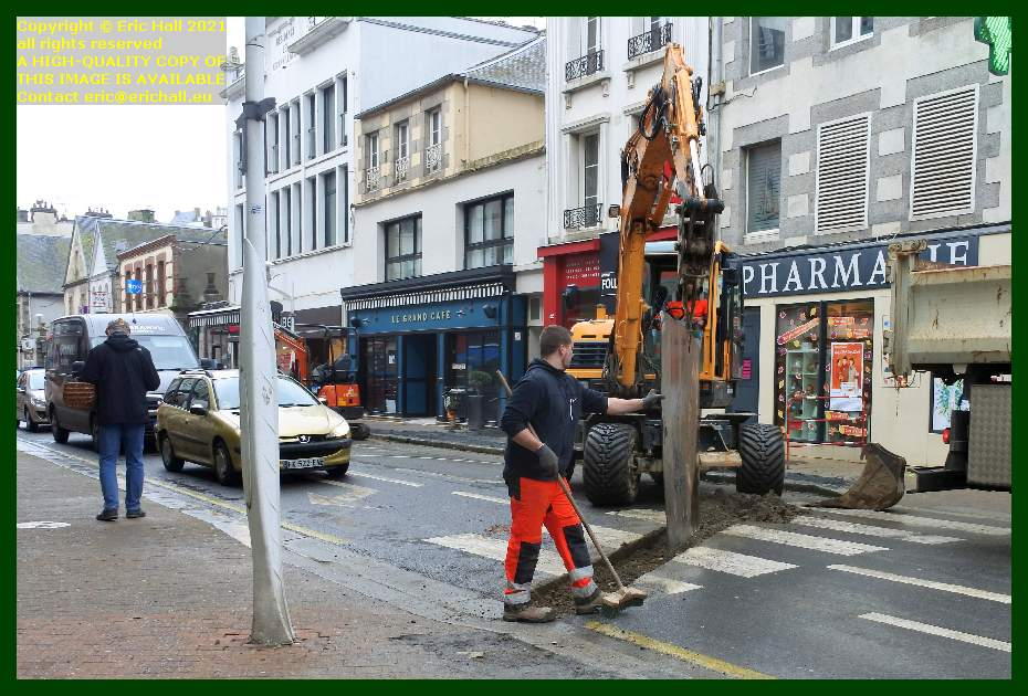 digging trench in rue lecampion Granville Manche Normandy France Eric Hall