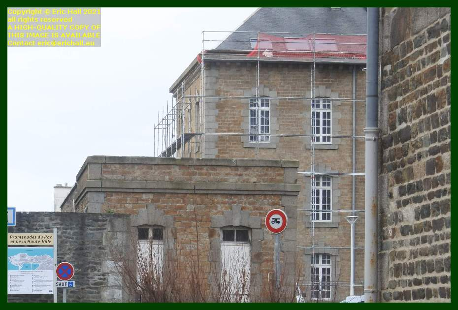 erecting scaffolding place d'armes Granville Manche Normandy France Eric Hall