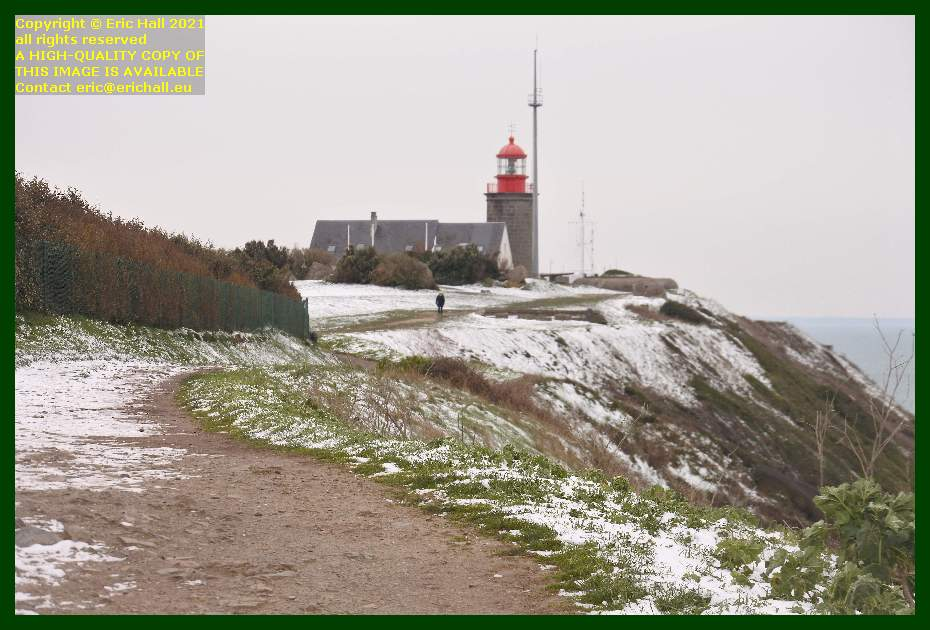 snow lighthouse semaphore pointe du roc Granville Manche Normandy France Eric Hall