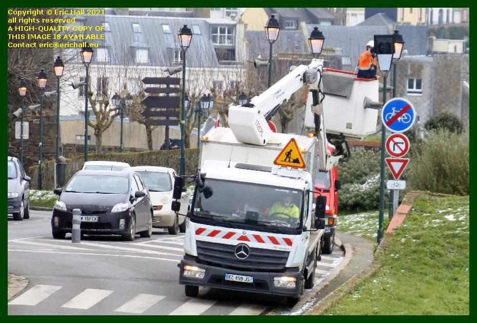 fixing street lights rue des juifs Granville Manche Normandy France Eric Hall