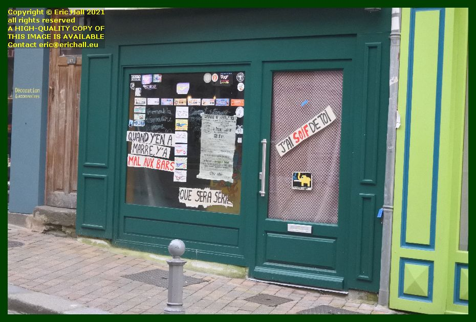 window stickers winnibelle bar rue des juifs Granville Manche Normandy France Eric Hall