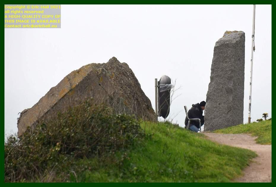 workman painting seafarers' monument pointe du roc Granville Manche Normandy France Eric Hall