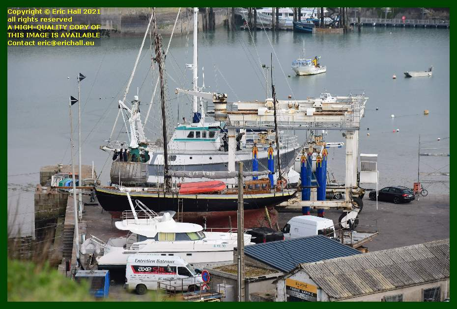 hermes 1 ready to be put back into water chantier navale port de Granville harbour Manche Normandy France Eric Hall