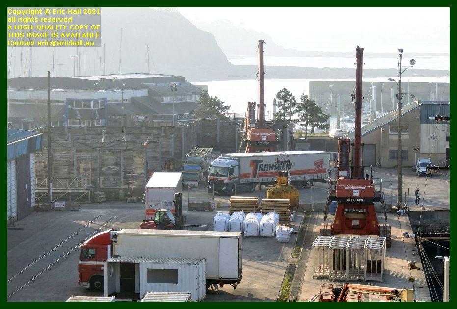 unloading lorry port de Granville harbour Manche Normandy France Eric Hall
