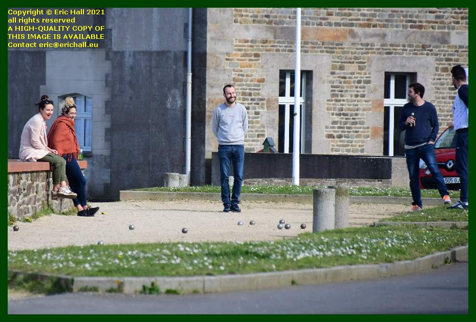 people playing boules place d'armes Granville Manche Normandy France Eric Hall