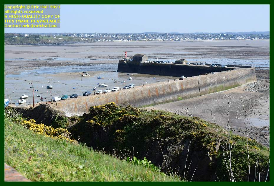 cars parked on harbour wall port de Granville harbour Manche Normandy France Eric Hall