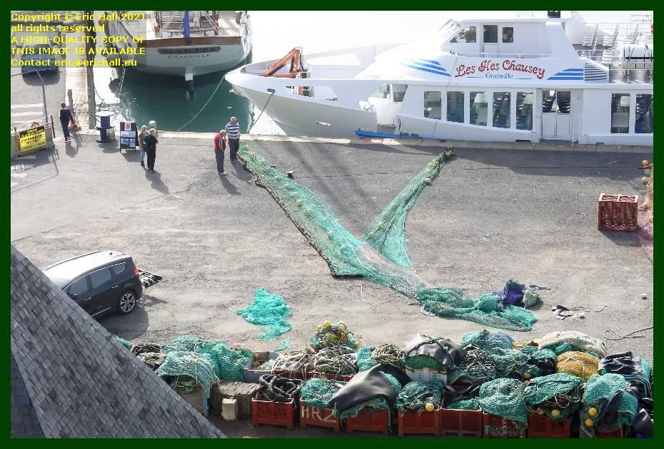 airing fishing nets rue du port de Granville harbour Manche Normandy France Eric Hall