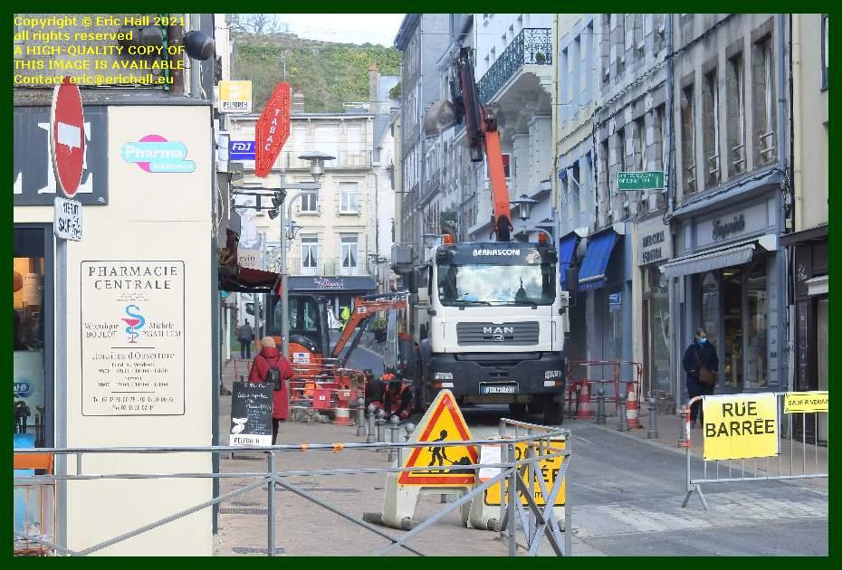 roadworks road closed rue paul poirier Granville Manche Normandy France Eric Hall