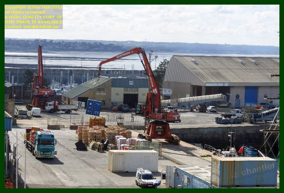 unloading normandy trader port de Granville harbour Manche Normandy France Eric Hall